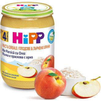 БИО Праскова и ябълка с пълнозърнест ориз 190 гр. 4 м. +